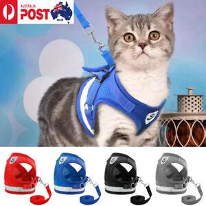 Kitten Cat Dog Walking Harness Adjustable Lead Leash Collar Small Pup Dog Vest