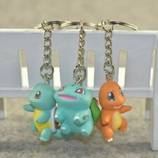 3pcs Pokemon Figures Keychain Squirtle Bulbasaur Charmander Keyring Pendant Toy
