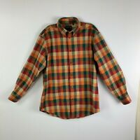 Orvis Mens Shirt L Checked Long Sleeves Orange Button Down Collar