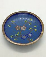 """Beautiful Vintage Small Cloisonné Blue Dish / Blossoms 3-3/4"""" Marked CHINA"""