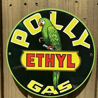 VINTAGE  POLLY ETHYL GASOLINE PORCELAIN SIGN USA GAS PUMP PLATE PARROT OIL 12""