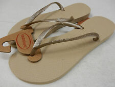 HAVAIANAS WOMENS SANDALS SLIM SAND GREY LIGHT GOLD SIZE 6