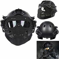 2in1 Tactical Airsoft Paintball Fast Helmet Protective W/ Mask Goggles G4 System