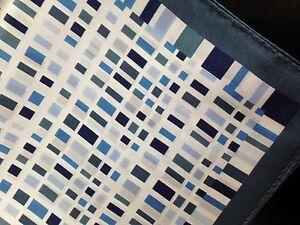 "REDUCED! 14"" Satin 100%  Silk Pocket Square Geometric Blues Designer Navy edge-H"