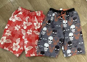 2 X Boys Swim Shorts Board Shorts Trunks Skull And Surf Print Age 8 9 - 10 Years