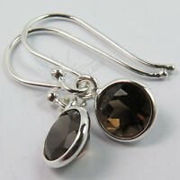 Girls Earrings Natural SMOKY QUARTZ Round Gemstones 925 Solid Sterling Silver