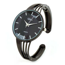 Gun Black String Style Band Luxury Women's Bangle Cuff Watch