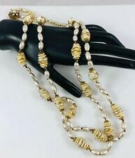 Vintage Miriam Haskell Double Strand Necklace Baroque Pearls Oval&Ruffled Discs