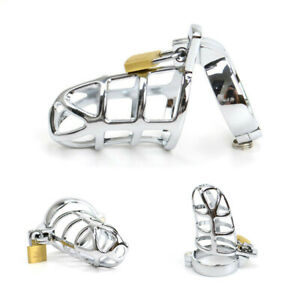 Male Chastity Belt Devices Stainless Steel Metal Cage Cock Lock