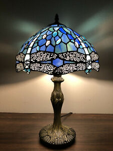 """Enjoy Tiffany Style Table Lamp Sea Blue Stained Glass Dragonfly Vintage 19""""H12""""W"""