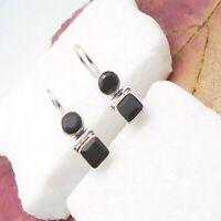 Onyx schwarz black rund eckig Design Ohrringe Ohrhänger 925 Sterling Silber neu