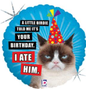 "Grumpy Cat Birthday Balloon 18"" Mylar Party Decoration"