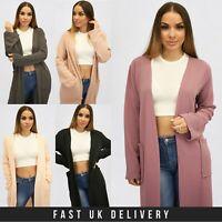UK Womens Long Sleeve Pocket Ladies Length Kimono Duster Spring Jacket Coat