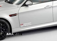 V6 SPORT Racing edition Vinyl Decal car emblem logo skirt door sticker WHITE/RED