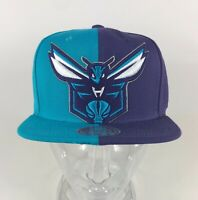 Charlotte Hornets Mitchell & Ness NBA Color Split Purple Teal Snapback Hat Cap