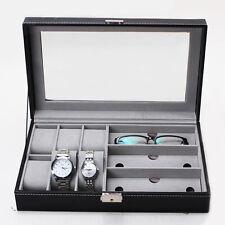 Organizer Top Glass Jewelry Storage Black 6 Slot Watch Box Leather Display Case