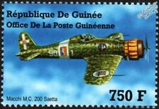 WWII MACCHI M.C.200 SAETTA Thunderbolt Fighter Aircraft Stamp (2002 Guinea)