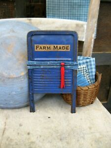 Antique Tin Toy Washboard Original Blue Paint Free Shipping