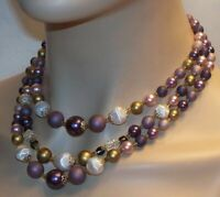 Vintage Gorgeous Early Japan 3 Strand Lavender Gold White Necklace N282