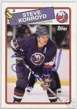 STEVE KONROYD NEW YORK ISLANDERS 1989 TOPPS AUTOGRAPHED HOCKEY CARD JSA