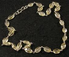"NATURAL CITRINE Hand Faceted Oval Crystal Gemstone NECKLACE 17"" Silver Plated"