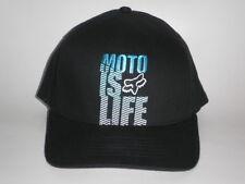 Fox Racing Hat MOTO IS LIFE Black Blue Large/X-Large ($30) NEW Flex Dirt Cap MX