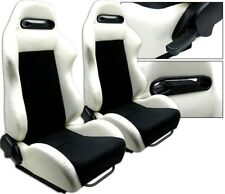 2 White & Black Racing Seats RECLINABLE ALL BMW NEW *