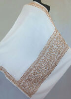 Golden Tan on Ivory Large Wool Shawl Crewel Embroidered. Kashmir Embroidery