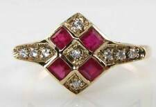 CLASS 9K 9CT GOLD ART DECO INS INDIAN RUBY & DIAMOND RING FREE RESIZE
