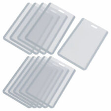 10pcs Office Gray Clear Plastic Vertical Business Name Badge Credit Card Holders