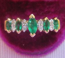 14K EMERALD & DIAMOND ETERNITY ENGAGEMENT WEDDING ANNIVERSARY STACK RING BAND