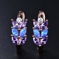 Exquisite Blue Fire Opal&Amethyst Leaf Wheat ears Leverback Stud Earrings Gifts