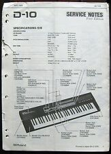 Roland D-10 Keyboard Original Service Manual, Schematics, Parts List Booklet
