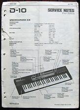 Roland D-10 Keyboard Original Service Manual, Schematics, Parts List Booklet