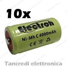 10x Batteria ricaricabile NiMh 1/2 mezza torcia C 4000mAh 4Ah Accumulatore Cell
