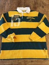 AUSTRALIA Wallabies Rugby long Sleeve Shirt Cooper Sports Size M Stripe First XV