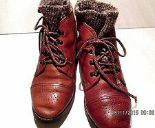 POSITIVELY PEPPERS LADIES SZ 7B  LACE UP LINED ANKLE BOOTS LEATHER ROMANIA W1125