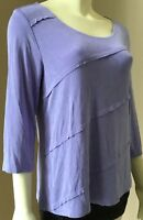 Womens Chico's Travelers Size 1 Lilac Slinky Travel Cruise Stretch Knit Top M
