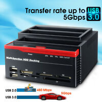 "USB 3.0 SATA HDD IDE Triple Bay 2.5"" 3.5'' Hard Drive Card Dock AB"