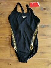 Speedo Endurance black and gold detail swimsuit 18, bust 40 in New with Tags