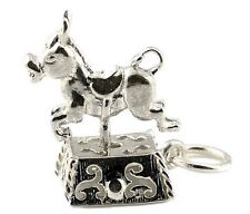 STERLING SILVER MOVING 6 PENNY DONKEYRIDE CHARM