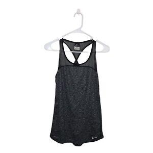 Nike Tank Top Medium Black Gray Mesh Racerback Dri-fit High Low Black Gray