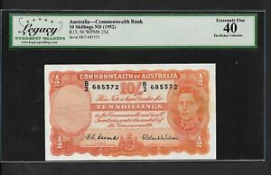 Australia p-25d, XF, 10 Shillings, 1952, From The Rickey Collection