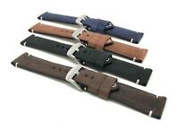 22mm Vintage Watch Band Strap, Leather, Black, Brown, Blue, Tan, White Stitch