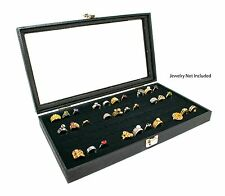 Novel Box Glass Top Black Jewelry Display Case With 36 or 72 Foam Ring Inserts