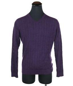 Robert Talbott Carmel 100% Royal Alpaca V-Neck Sweater Men's Size Large Purple