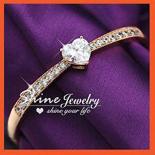 18k Rose Gold GF Ba58 Ct Simulated Diamond Heart Lady Bangle Bracelet Xmas Gift
