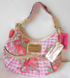 "NWT Betsey Johnson Betseyville ""Sweetheart Pink"" Floral & Gingham Handbag"