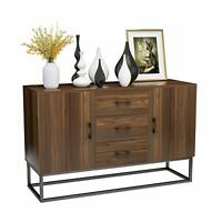 Wooden Sideboard Buffet Storage Cabinet w/ 3 Drawers 2 Doors Console Table Desk