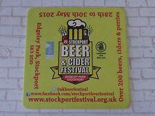 Beer Bar Coaster ~ 2015 Stockport 29th Beer & Cider Festival at Edgeley Park, UK